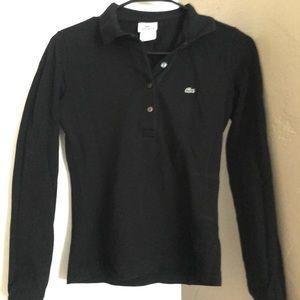 Lacoste s xs 36 shirt polo long sleeve black